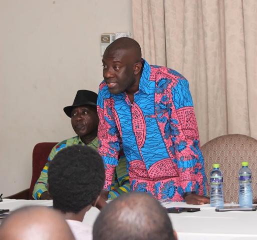 Kojo Oppong-Nkrumah addressing the media at the soiree
