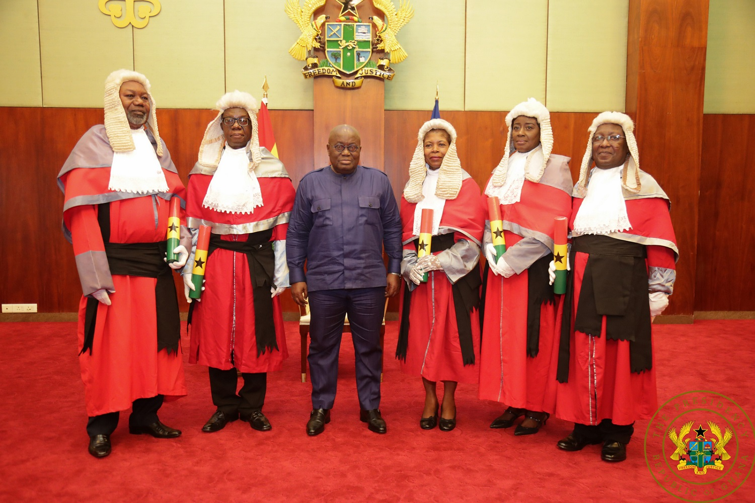 President Akufo-Addo with the 5 new court of Appeals judges