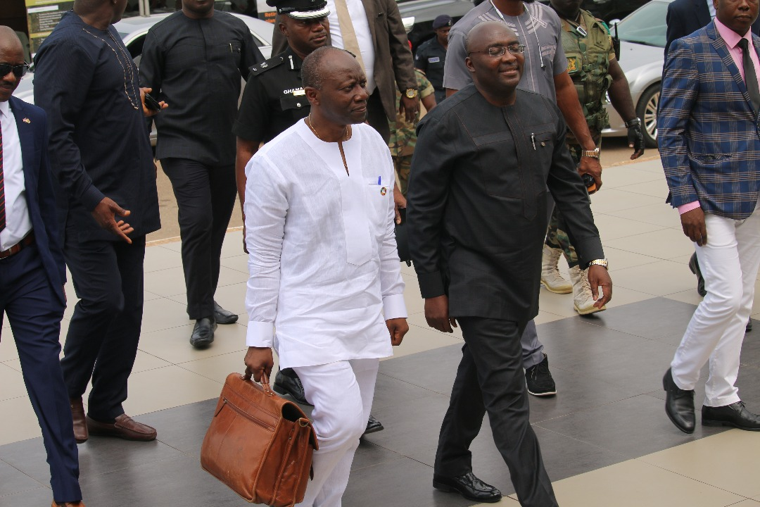 Ken Ofori-Atta and Dr. Mahamudu Bawumia at Parliament for the 2018 Mid-Year Budget review