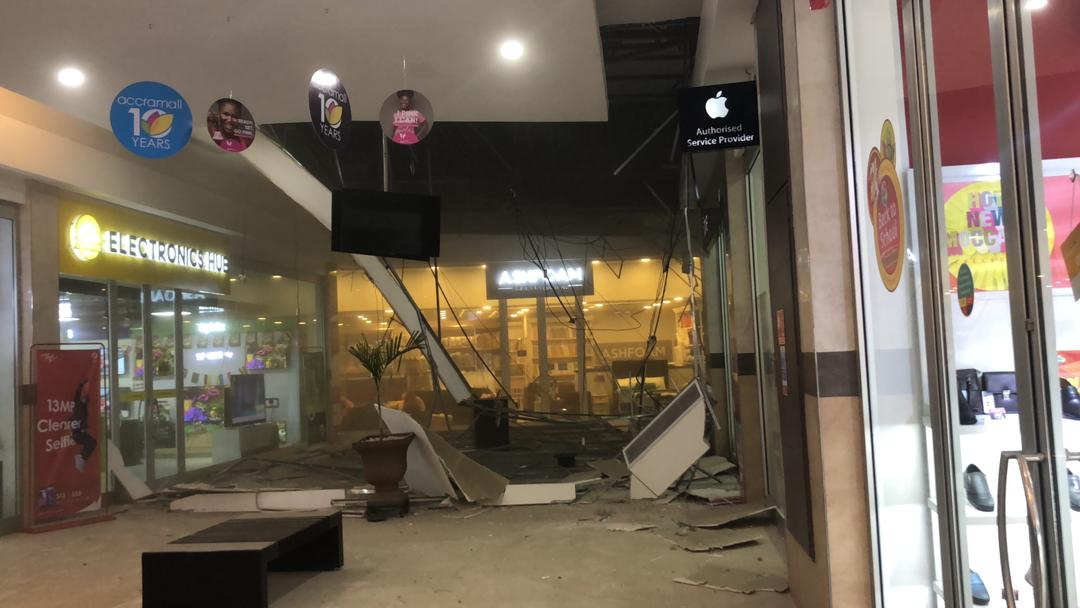 The caved roof at the GAME shop | Source: Josephine Asabea Akonor