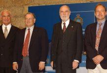 Larry Roberts (far left) with net pioneers Bob Kahn, Vint Cerf and web creator Sir Tim Berners-Lee