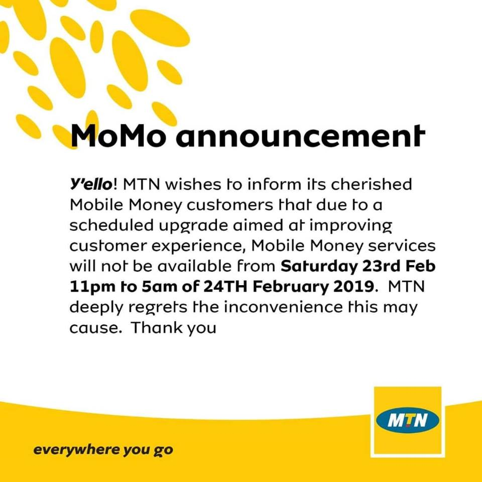 MTN MoMo to go down Saturday night for upgrade