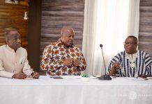 Mahama (M), Asiedu Nketia and Ofosu Ampofo addressing the diplomats