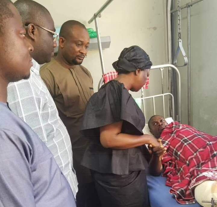 The MP Lydia Alhassan (in black) paid a visit to the victims at the 37 Military Hospital