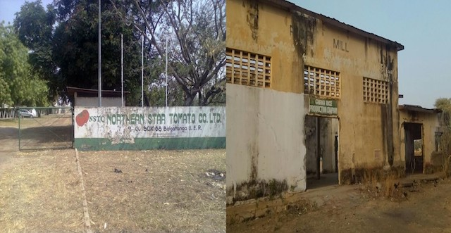 (Left) The abandoned Northern Star Tomato Factory at Pwalugu. (Right) The collapsed rice mills at Zuarungu. The union wants them renovated before government establishes new ones.