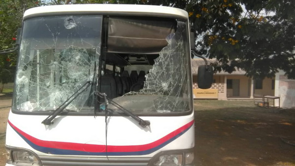 A bus was damaged during the melee