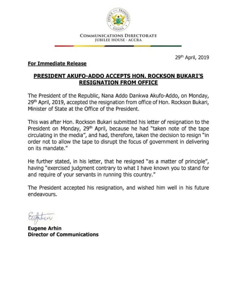 Rockson Bukari resigns over Shaanxi bribe saga