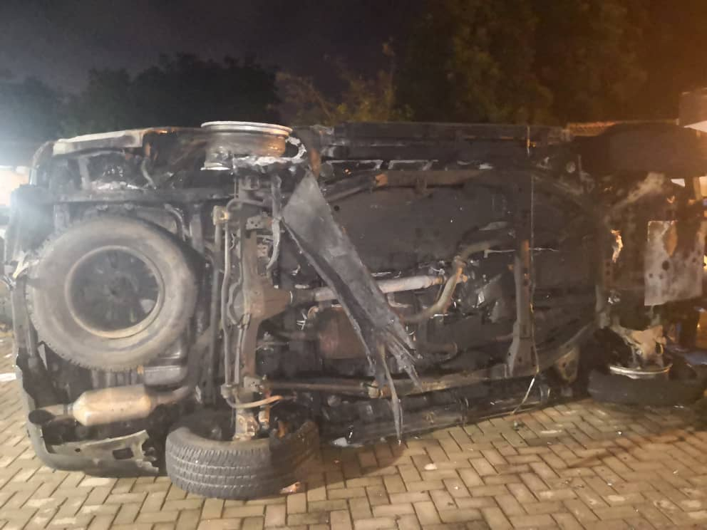 Video: Parked vehicle of Accra Mayor catches fire