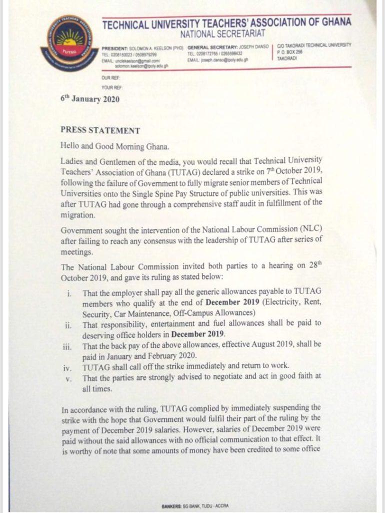 TUTAG declares strike beginning Tuesday