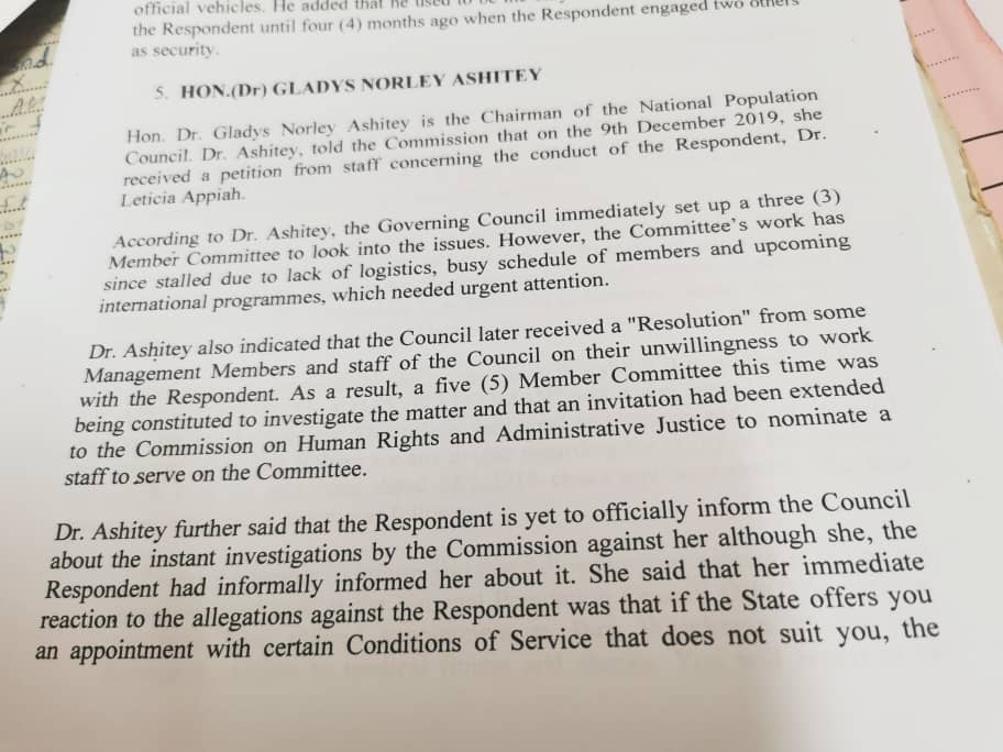 A copy of the testimony of the board chair at CHRAJ against the Executive Director