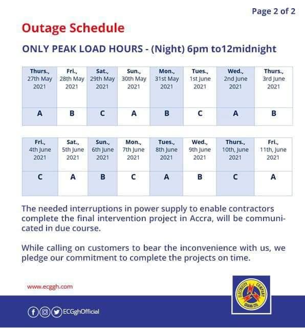 ECG releases new 'dumsor' timetable. 52