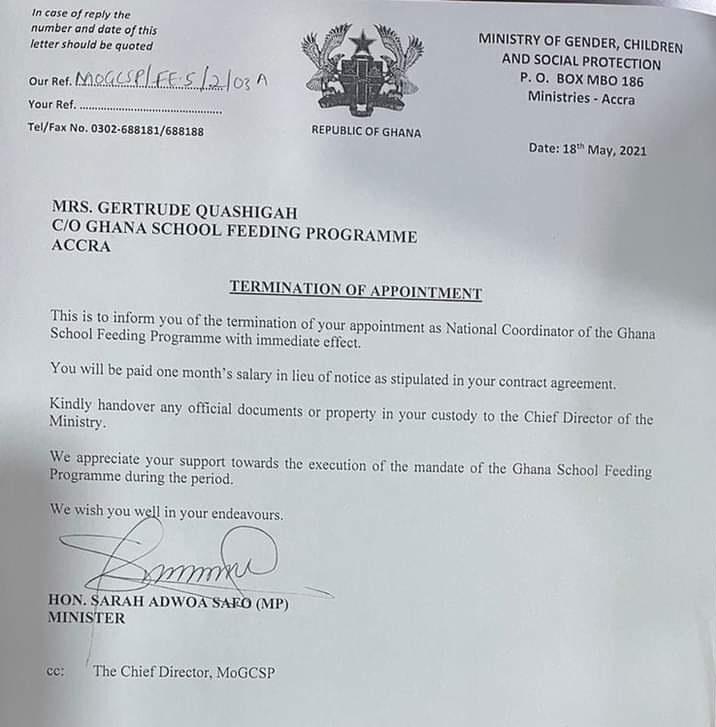 Adwoa Safo sacks School Feeding boss. 49
