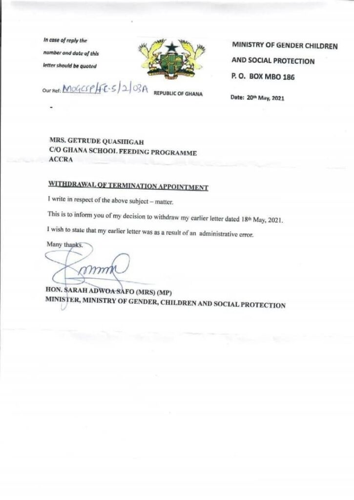 Adwoa Safo reverses decision to sack School feeding Boss. 51
