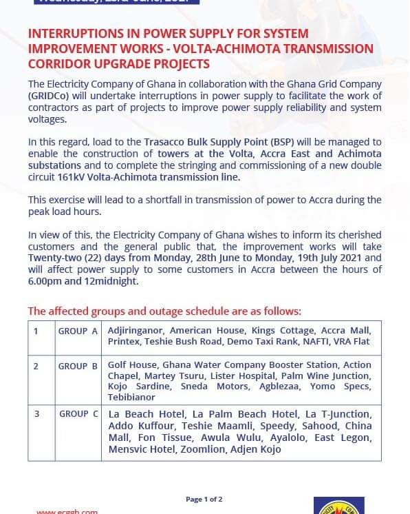 Accra: ECG announces 22-day 'dumsor' timetable. 51