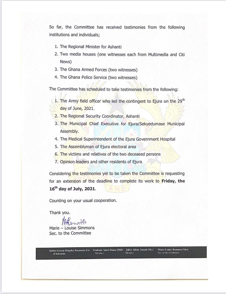 Kaaka's family withdraws from Ejura Committee hearing. 49